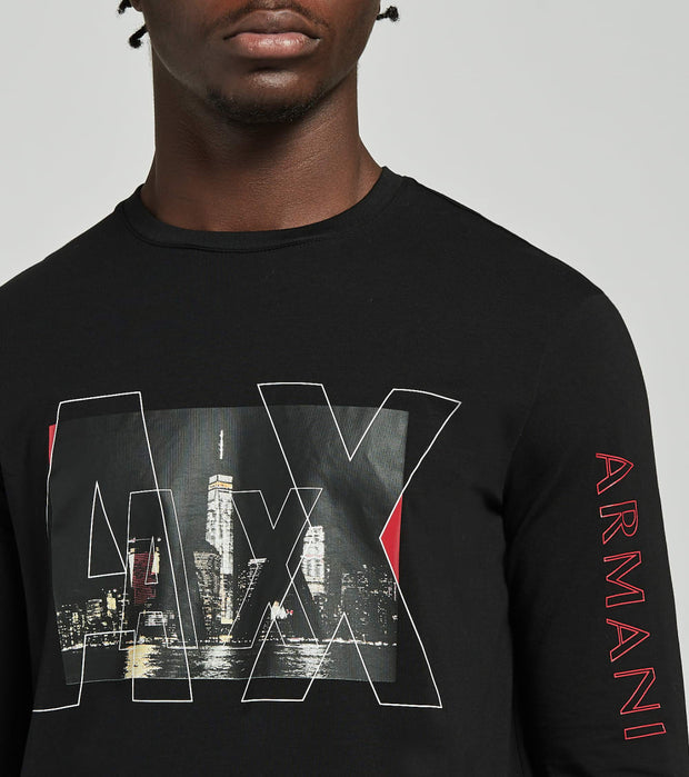 Armani Exchange  City Logo Long Sleeve Shirt  Black - 6HZTGFZJE6Z1200 | Jimmy Jazz