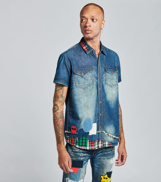 A.K.O.O.  Righteous Short Sleeve Woven Shirt  Blue - 7016600-STI | Jimmy Jazz