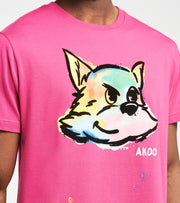 A.K.O.O.  Painted Snobby Knit Short Sleeve Tee  Pink - 7018311-CFL | Aractidf