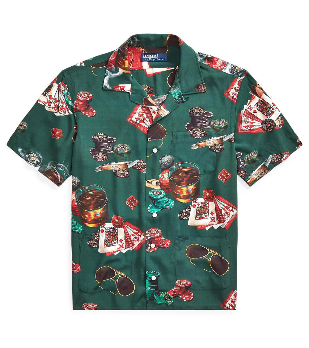 Polo Ralph Lauren  Classic Fit Poker Print Shirt  Green - 710789613001-GRN | Jimmy Jazz