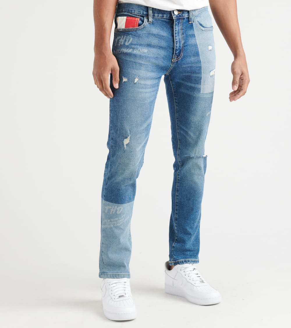 Tommy Hilfiger  Slim Tapered Jeans With Laser Patchwork  Blue - 78D8791-495 | Jimmy Jazz