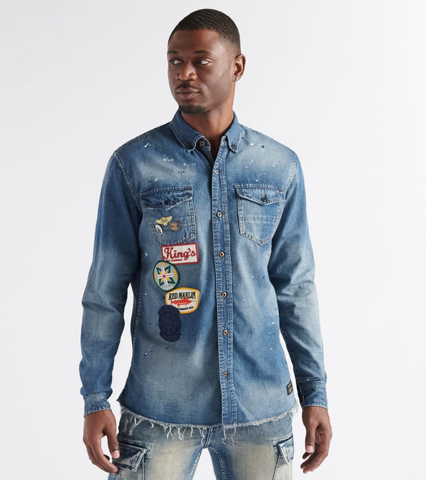 A.K.O.O.  Feared Woven Button Down  Blue - 7918600-LIB | Jimmy Jazz