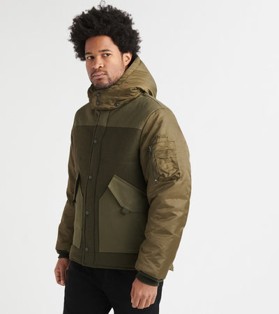 Schott  Wool Blend Puffer Jacket  Green - 7926-OLV | Jimmy Jazz