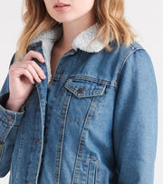 Essentials  Sherpa Denim Jacket   Blue - 7986-DSB | Jimmy Jazz