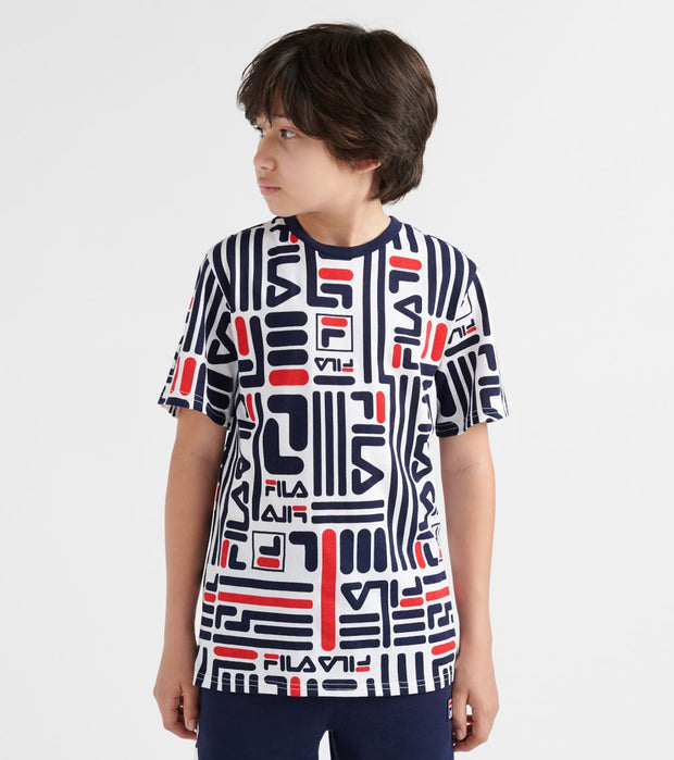 Fila  All-Over Print Logo Tee  Multi - 82F331-RED | Jimmy Jazz