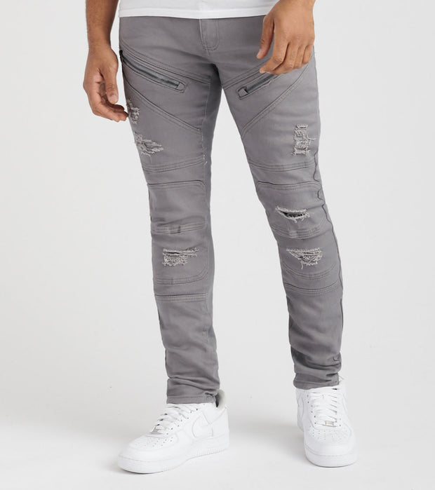 Decibel  Biker Trim and Zipper Jean - L32  Grey - 833201L32-GY | Jimmy Jazz
