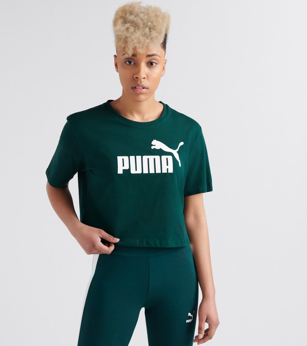 Puma  ESS Cropped Logo Tee  Green - 85259430-300 | Jimmy Jazz