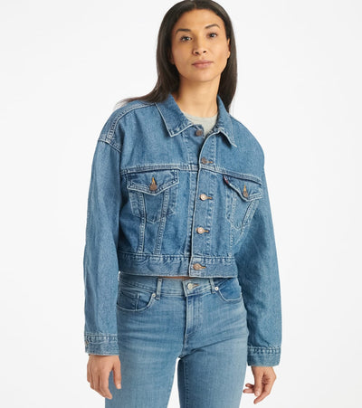 Levis  Crop Dad Trucker Denim Jacket  Blue - 85294-0014 | Jimmy Jazz