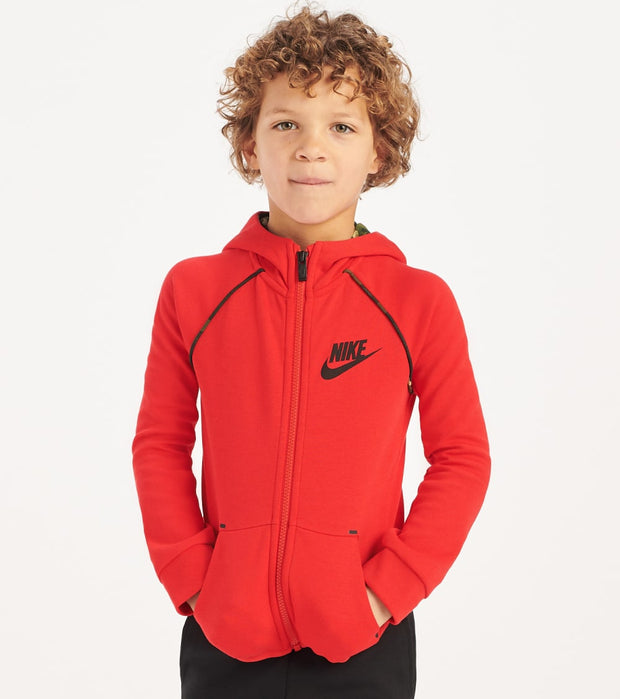 Nike  Boys Tech Fleece Camo Line Hoodie  Red - 86F287-U10 | Jimmy Jazz
