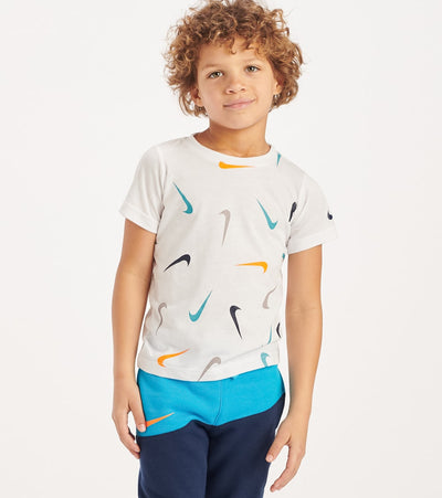 Nike  Boys 4-7 Multi Swoosh Toss Tee  White - 86F764-001 | Jimmy Jazz