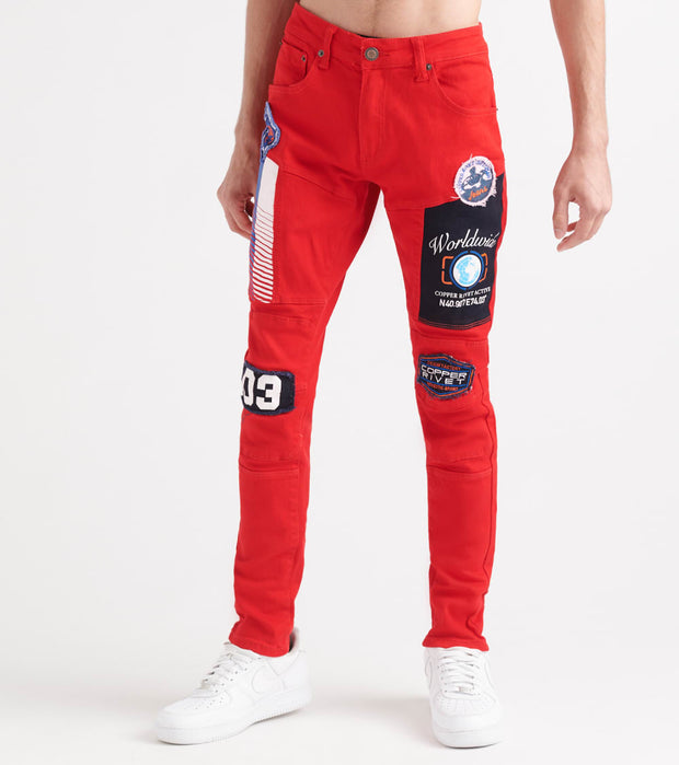 Decibel  Silicon Embossed Jeans - L32  Red - 933216L32-RED | Jimmy Jazz