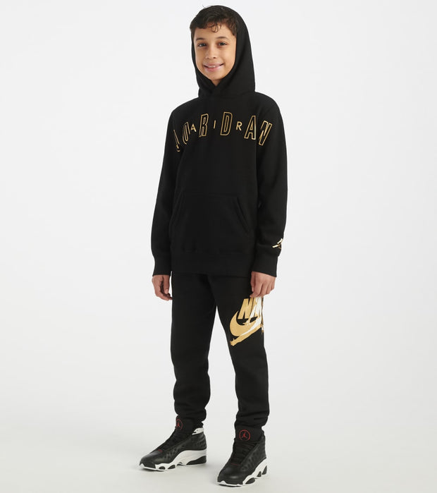 Jordan  Boys Jordan Wordmark Bonded Hoodie  Black - 955772-023 | Jimmy Jazz