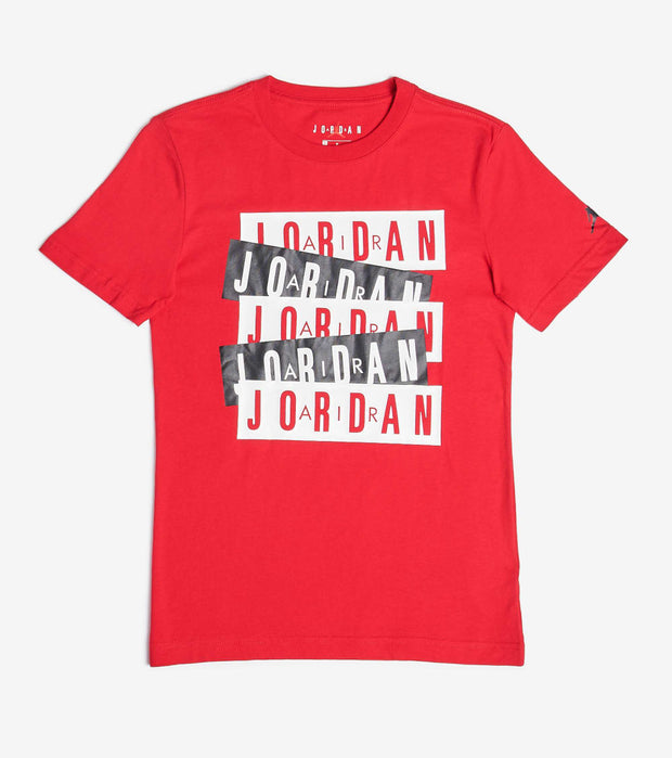 Jordan  Boys Jordan Stack Tee  Red - 95A069-R78 | Jimmy Jazz
