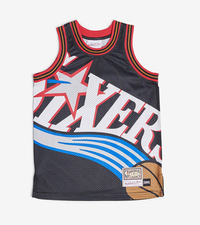Mitchell And Ness  Boys NBA Big Face Sixers Jersey  Black - 9N2B7NADB76R-000 | Jimmy Jazz