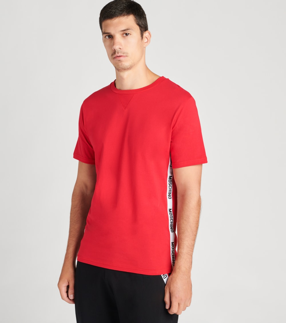 Moschino  Basic Jersey Tee With Side Logo Band  Red - A19138108-0118 | Jimmy Jazz