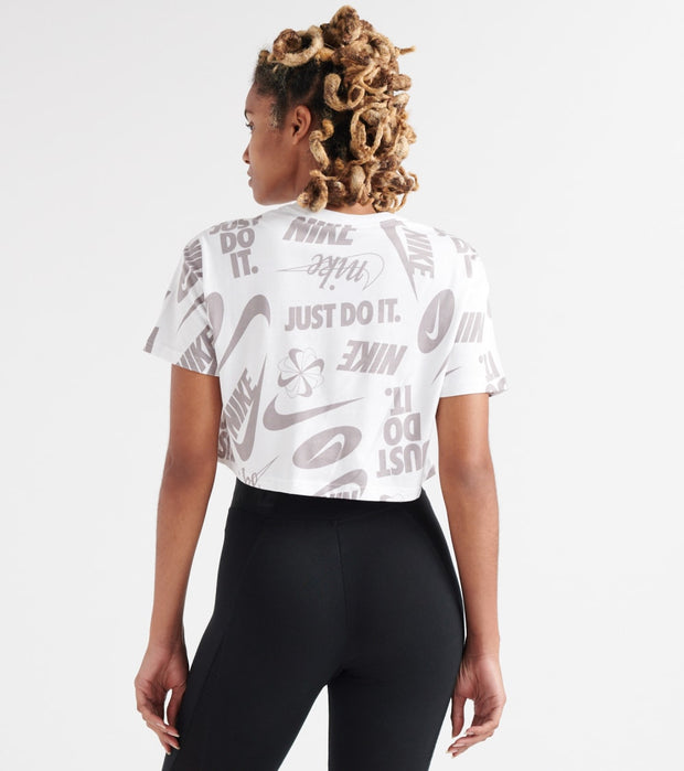 Nike  Essentials All-Over Print Cropped Tee  White - AR6347-100 | Jimmy Jazz