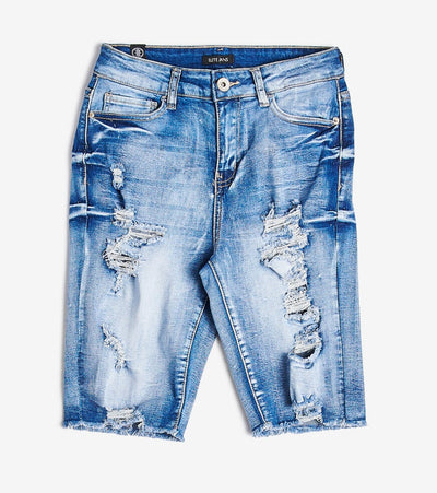Essentials  Destroyed Bermuda Shorts  Blue - B20512-POT | Jimmy Jazz