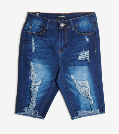 Essentials  Destructed Uneven Hem Short  Blue - B20520-DKW | Jimmy Jazz