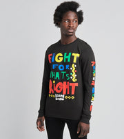 Reason  Right Fight Long Sleeve Tee  Black - C0401-BLK | Jimmy Jazz