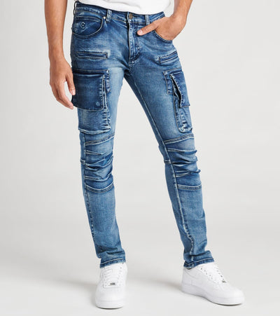 Caliber  Shell Back Cargo Jeans   Blue - C12475-DBS | Jimmy Jazz