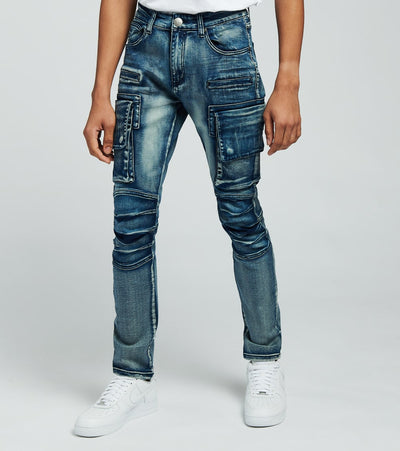 Caliber  Shell Back Cargo Jeans  Blue - C12475-MBL | Jimmy Jazz