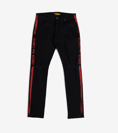 Caliber  Rip Knee Jeans W Red Paint Strip  Black - C12489-BKR | Jimmy Jazz