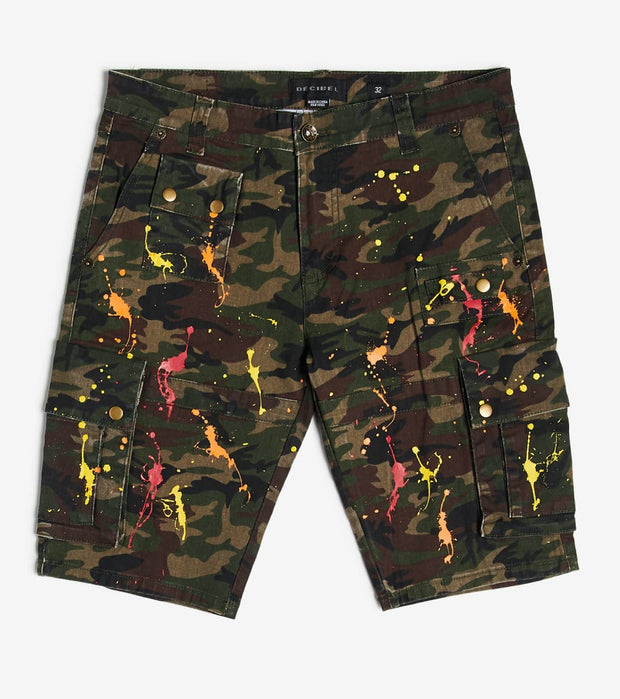 Decibel  Cargo Splatter Shorts  Green - C12547S-CAM | Jimmy Jazz