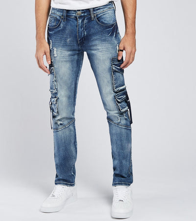 Caliber  Boundaries Cargo Jeans L32  Blue - C12678-MBL | Jimmy Jazz