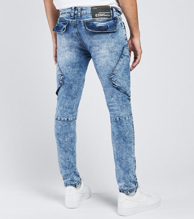 Caliber  Double Act Cargo Jeans L34  Blue - C12689-MBL | Jimmy Jazz