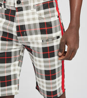 Decibel  Plaid Shorts With Red Tape  Black - C127572-RED | Jimmy Jazz
