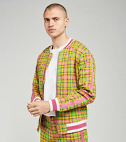 Decibel  Plaid Bomber Jacket With Green Tape  Green - C12786-GRM | Jimmy Jazz