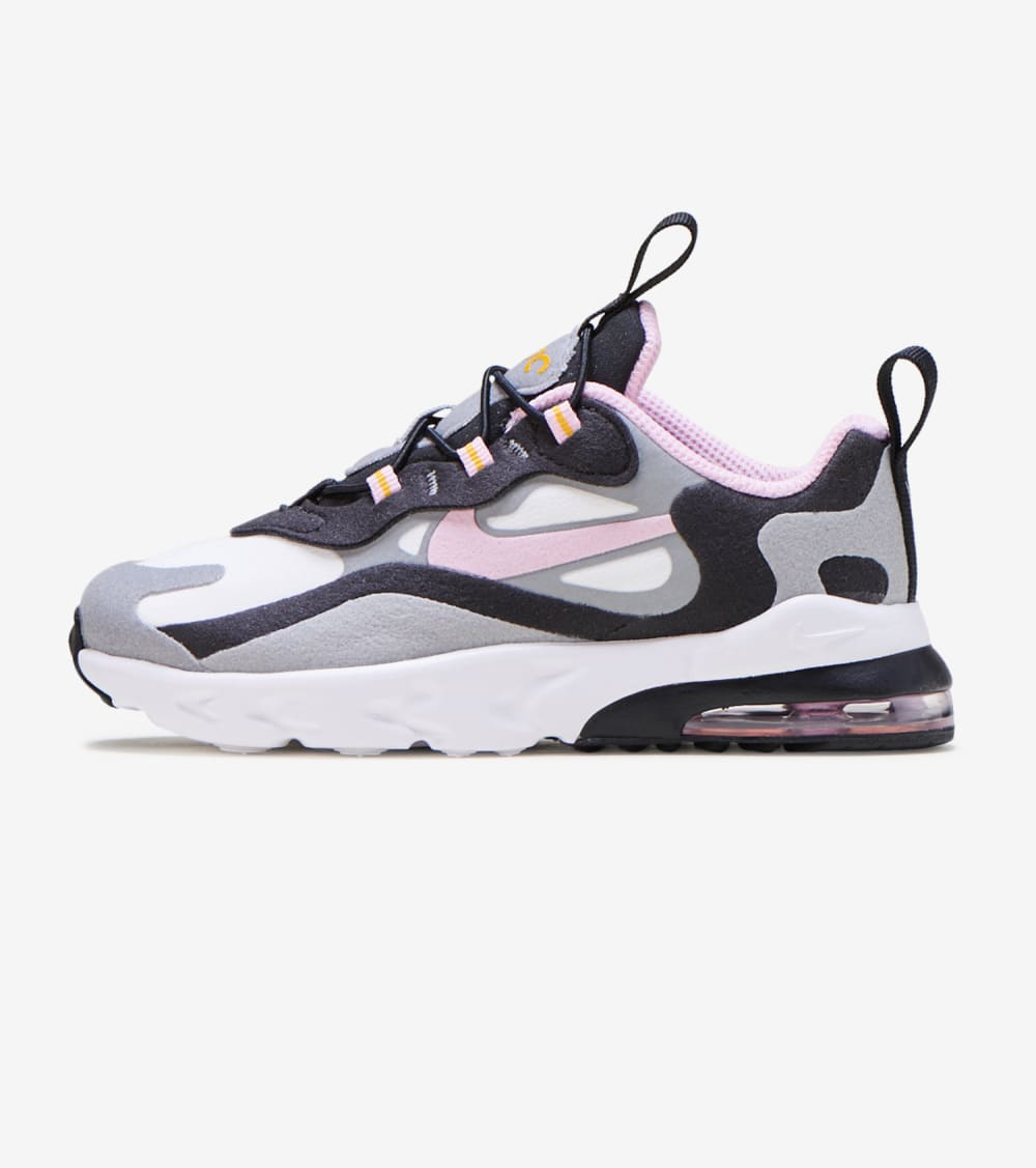 Nike Nike Air Max 270 React Shoes In Grey Arctic Pink Sulfur Size