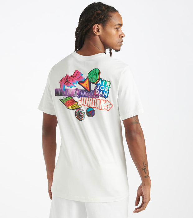 Jordan  Brand Sticker Mash Crew Tee   White - CD5638-100 | Jimmy Jazz