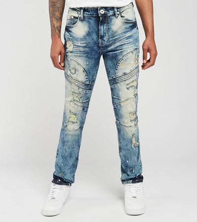 Create 2MRW  RNR Jeans With Backing N Paint Splatter  Blue - CF0613-MB | Jimmy Jazz
