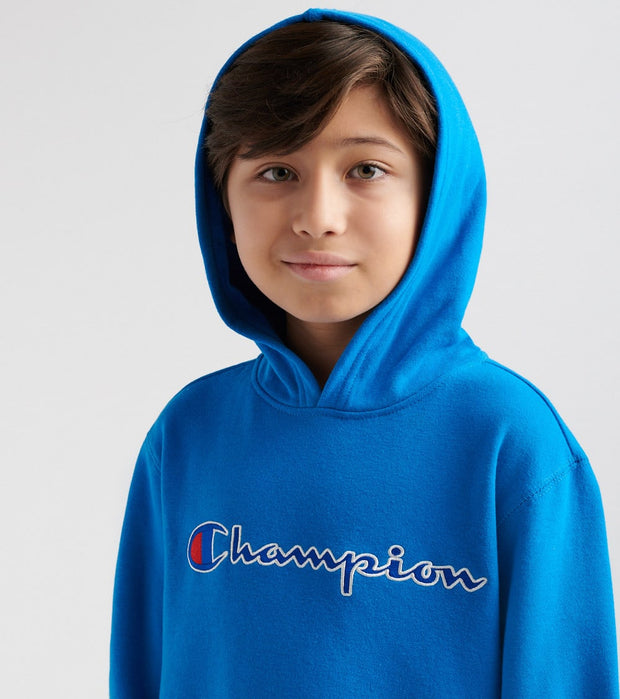Champion  Heritage Pullover Script Hoodie  Blue - CHX881-DHB | Jimmy Jazz