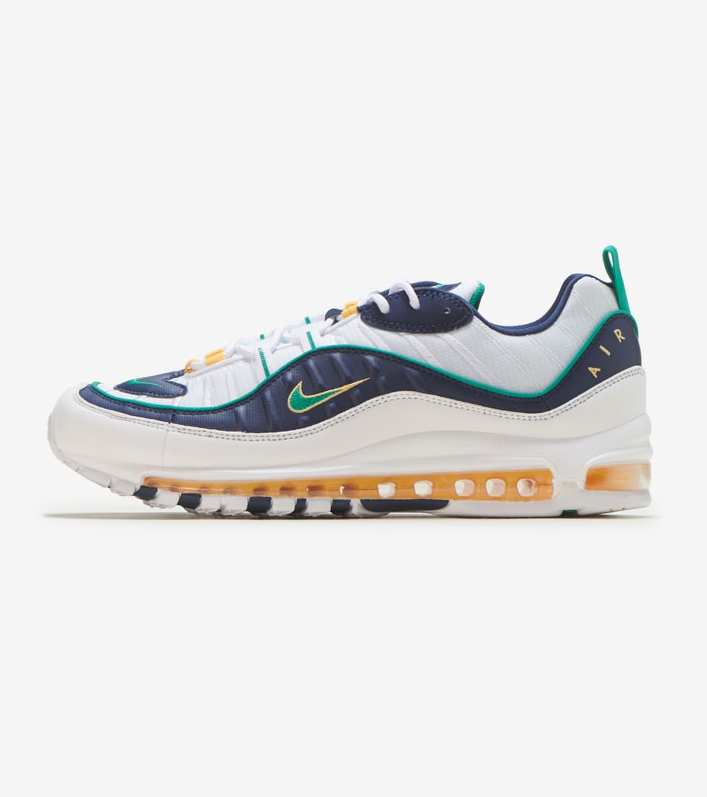 Nike Air Max 98 Shoes in White/Green/Navy Size 12 ...