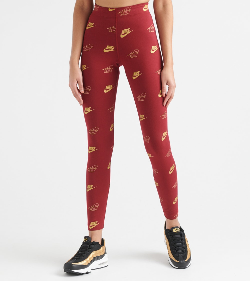 Nike All Over Print Legging in Red Size