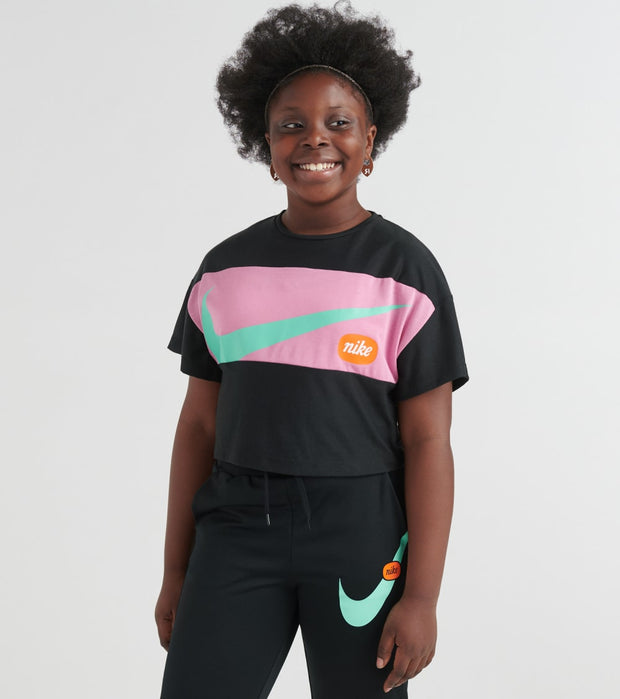 Nike  Girls Short Sleeve Crop Top   Black - CJ7599-010 | Jimmy Jazz