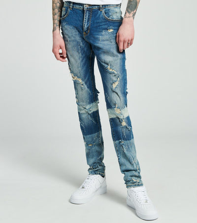 Crysp  Vinici Distressed Jeans L32  Blue - CRYSP01-LBL | Jimmy Jazz