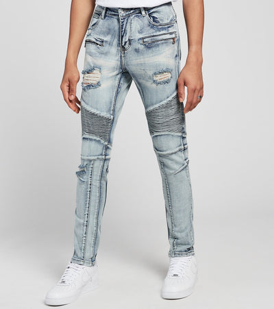 Crysp  Salinger Moto Jeans L32  Blue - CRYSP18RL32-LBL | Jimmy Jazz