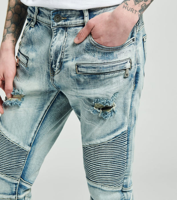 Crysp  Salinger Moto Jeans L30  Blue - CRYSP18SL30-LBL | Jimmy Jazz