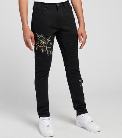 Crysp  Cassatt Embellished Moto Jeans L32  Black - CRYSP29RL32-JBK | Jimmy Jazz
