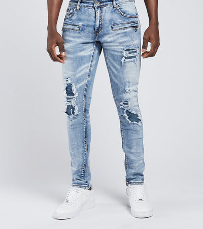 Crysp  Blanka Moto Jeans L30  Blue - CRYSP55SL30-LBL | Jimmy Jazz