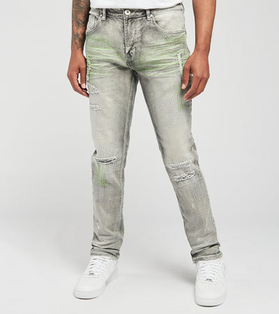 Create 2MRW  RNR Jeans With Allover Color Stitch  Grey - CS1605-GR | Jimmy Jazz