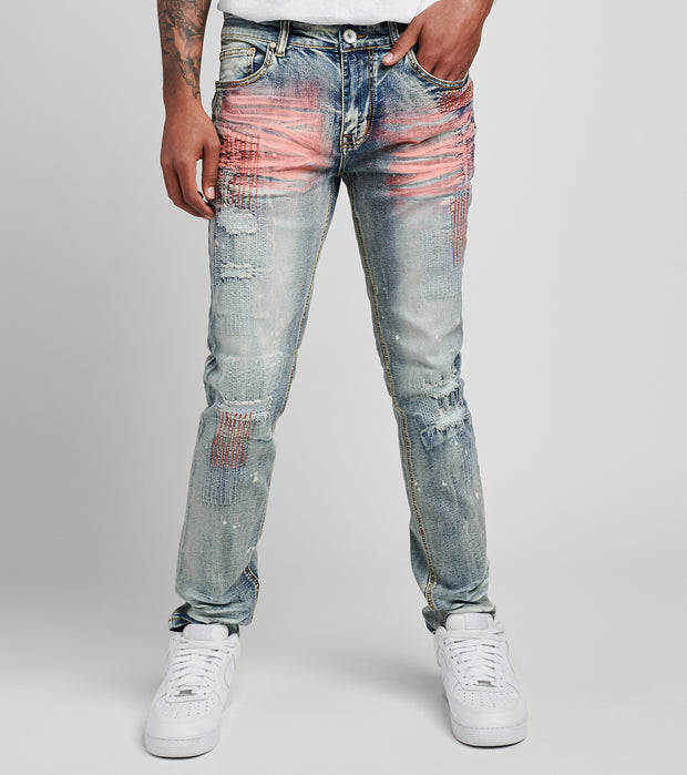 Create 2MRW  RNR Jeans With Allover Color Stitch  Blue - CS1605-LB | Jimmy Jazz