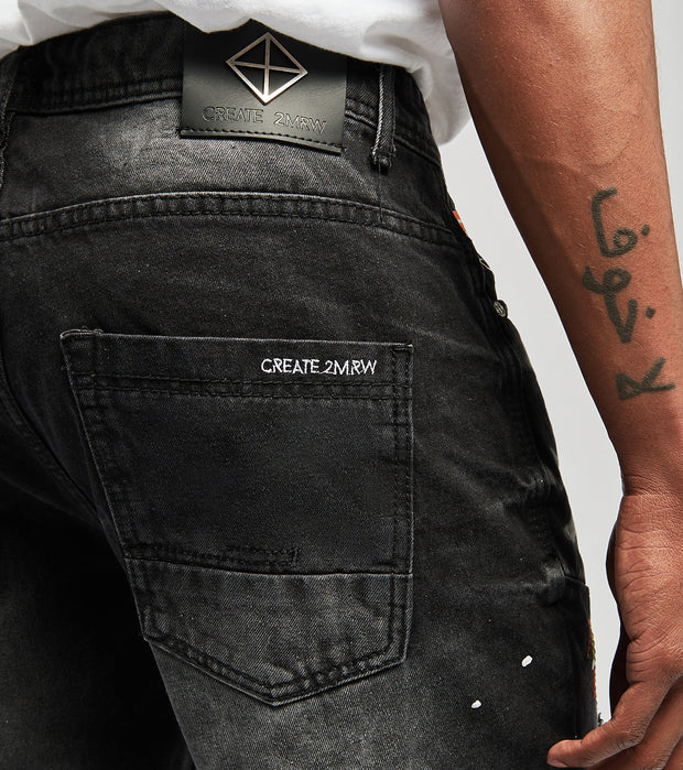 Create 2MRW  RNR Denim Shorts With Color Patch  Black - CS1701-BK | Jimmy Jazz
