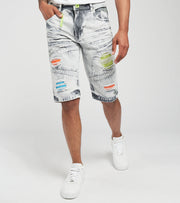 Create 2MRW  RNR Denim Shorts With Color Patch  Grey - CS1701-GR | Jimmy Jazz