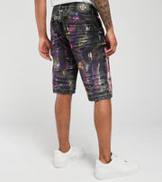 Create 2MRW  RNR Denim Shorts With Color Brush Paint  Black - CS1709-BK | Jimmy Jazz
