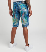 Create 2MRW  RNR Denim Shorts With Color Brush Paint  Blue - CS1709-LB | Jimmy Jazz