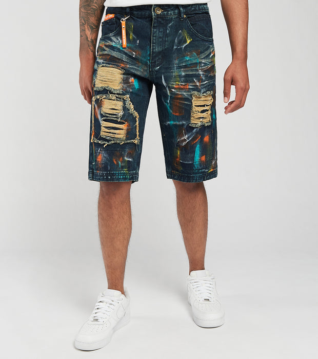Create 2MRW  RNR Denim Shorts With Color Brush Paint  Black - CS1709-VN | Jimmy Jazz